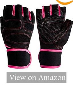 YMXING Half Finger Grip Glove For Fitness With Wrist Support Red And Black updated